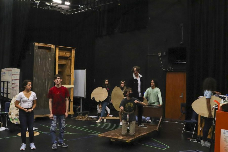 Theater students rehearse for the 2021 production of Peter and the Starcatcher.