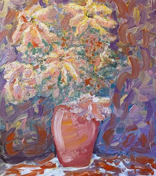 The painting Flowers from Heaven is inspired by Van Gogh and was painted on a 40x30 canvas.